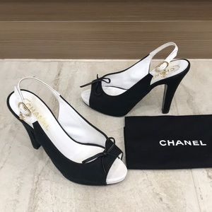CHANEL canvas heels